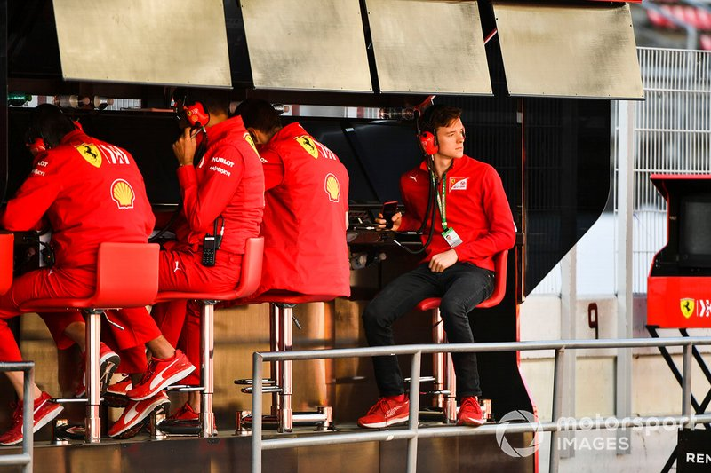 Callum Ilott, Ferrari sat on the pit wall