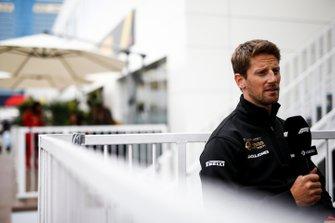 Romain Grosjean, Haas F1 speaks with the media
