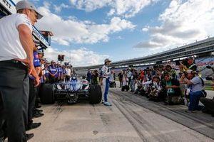 Takuma Sato, Rahal Letterman Lanigan Racing Honda celebrates winning the NTT P1 Award