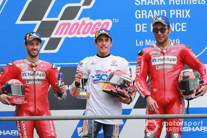 Podio: 1º Marc Marquez, 2º Andrea Dovizioso, 3º Danilo Petrucci
