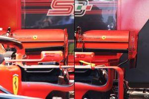 Confronto ala posteriore Ferrari - Charles Leclerc (a sinistra), Sebastian Vettel (a destra)