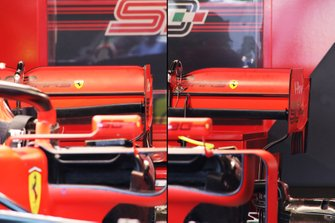 Ferrari rear wing comparison - Charles Leclerc (left), Sebastian Vettel (right)