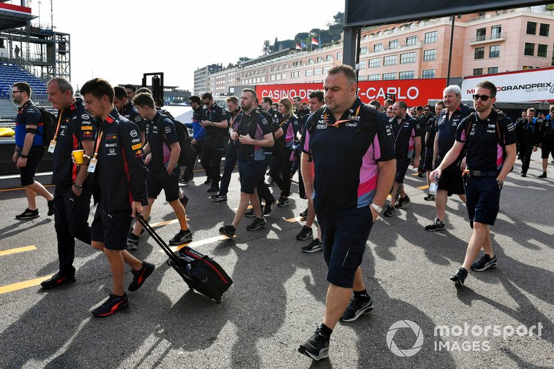 Red Bull and Racing Point team personnel