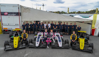 R-ACE GP team photo, Max Fewtrell, R-Ace G, Victor Martins, R-Ace G, Charles Milesi, R-Ace G, Logan Sargeant, R-Ace GP