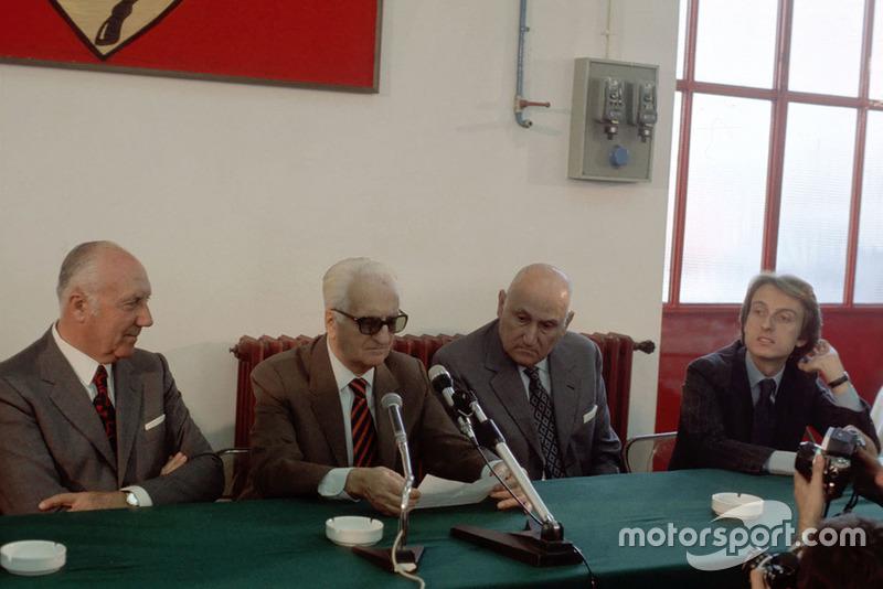 Fiorano 1975, Enzo Ferrari, Pietro Barilla duriante la presentazione della Ferrari 312 T2