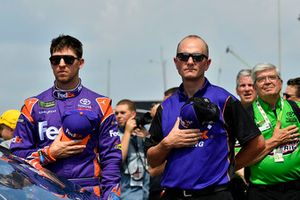 Denny Hamlin, Joe Gibbs Racing, Toyota Camry, mit Mike Wheeler