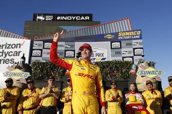 Ryan Hunter-Reay, Andretti Autosport Honda viert de winst in victory lane
