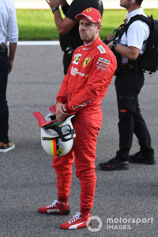 Sebastian Vettel, Ferrari, on the grid after Qualifying