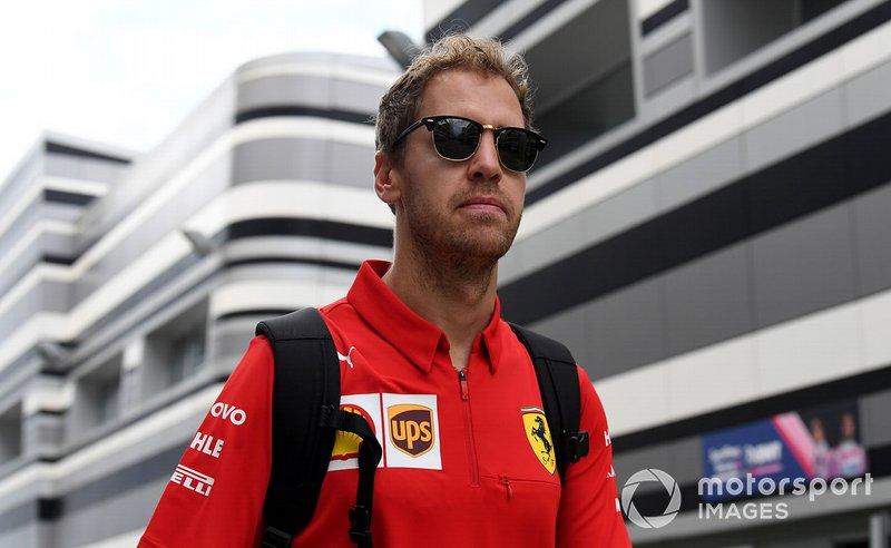 Sebastian Vettel, Ferrari arriva in pista