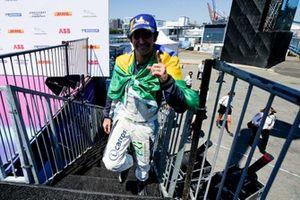 Race winner Sérgio Jimenez, Jaguar Brazil Racing approaches the podium