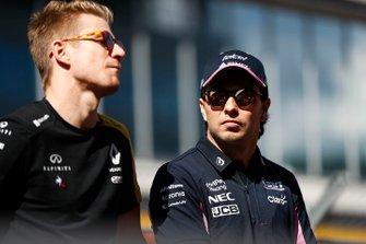 Nico Hulkenberg, Renault F1 Team, and Sergio Perez, Racing Point