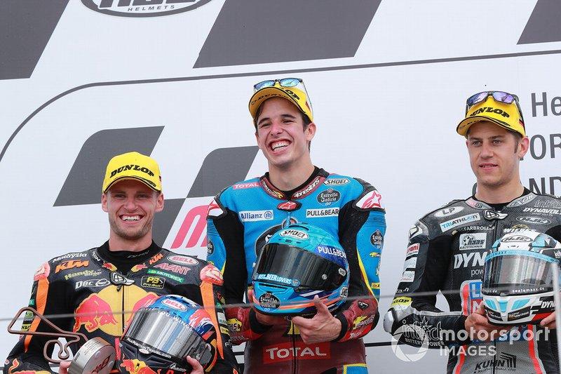 Podio: ganador, Alex Marquez, Marc VDS Racing, segundo, Brad Binder, KTM Ajo, tercero, Marcel Schrotter, Intact GP
