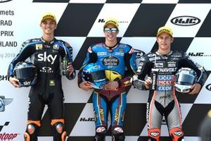 Polesitter Alex Marquez, Marc VDS Racing, second place Luca Marini, Sky Racing Team VR46, third placeMarcel Schrotter, Intact GP