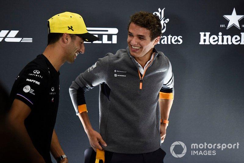 Daniel Ricciardo, Renault F1 Team y Lando Norris, McLaren en rueda de prensa