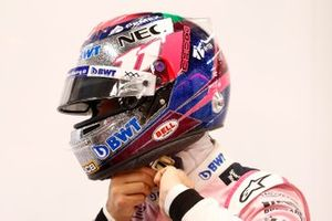 Sergio Perez, Racing Point with his new helmet