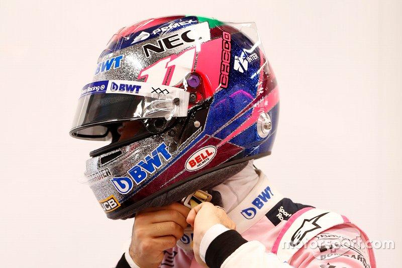 Sergio Perez, Racing Point with his new helmet