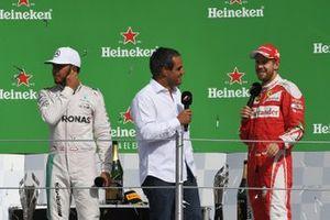 Льюис Хэмилтон, Mercedes AMG F1, Себастьян Феттель, Ferrari, и Хуан-Пабло Монтойя