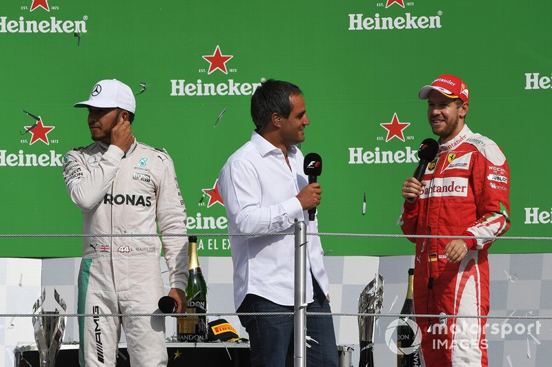 Podio: Lewis Hamilton, Mercedes AMG F1, Sebastian Vettel, Ferrari y Juan Pablo Montoya