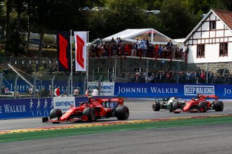 Charles Leclerc, Ferrari SF90, leads Sebastian Vettel, Ferrari SF90 and Lewis Hamilton, Mercedes AMG F1 W10