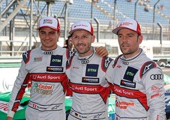Top 3 after Qualifying, Poles sitter René Rast, Audi Sport Team Rosberg, Jamie Green, Audi Sport Team Rosberg, Nico Müller, Audi Sport Team Abt Sportsline