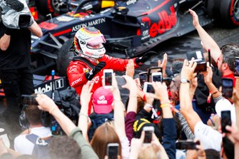 Sebastian Vettel, Ferrari, 2nd position, celebrates in Parc Ferme