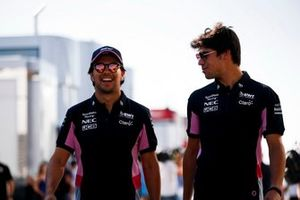 Sergio Perez, Racing Point and Lance Stroll, Racing Point in the paddock
