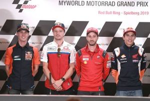 Пол Эспаргаро, Red Bull KTM Factory Racing, Джек Миллер, Alma Pramac Racing, Андреа Довициозо, Ducati Team, и Марк Маркес, Repsol Honda Team