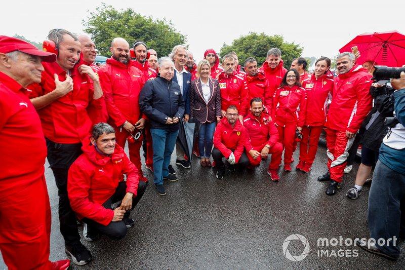 Jean Todt, Luca Cordero di Montezemolo and Corinna Schumacher with Ferrari mechanics before the Michael Schumacher Celebration