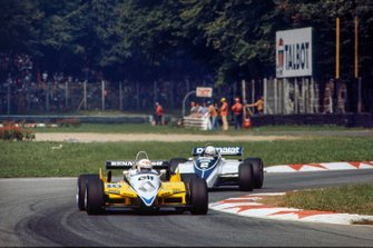 René Arnoux, Renault RE30B, leads Riccardo Patrese, Brabham BT50 BMW