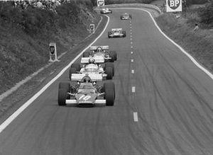 Jacky Ickx, Ferrari 321B, leads Jean Pierre Beltoise, Matra MS120, Jackie Stewart, March 701