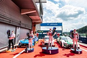 Podium: Kimmo Liimatainen, Team principal Audi Sport Team Rosberg, Race winner René Rast, Audi Sport Team Rosberg, second place Nico Müller, Audi Sport Team Abt Sportsline, third place Robin Frijns, Audi Sport Team Abt Sportsline