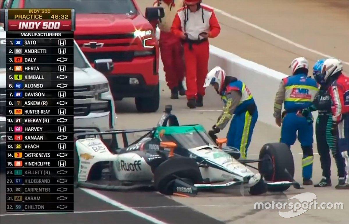 Fernando Alonso, Arrow McLaren SP Chevrolet, incidente