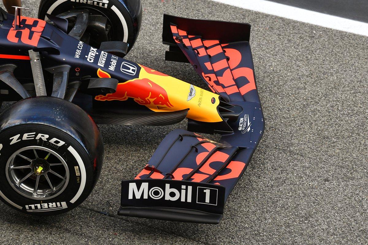 Detalle del alerón delantero del Red Bull Racing RB16