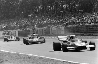 Jacky Ickx, Ferrari 312B2, Jackie Stewart, Tyrrell 003 Ford y Emerson Fittipaldi, Lotus 72D Ford