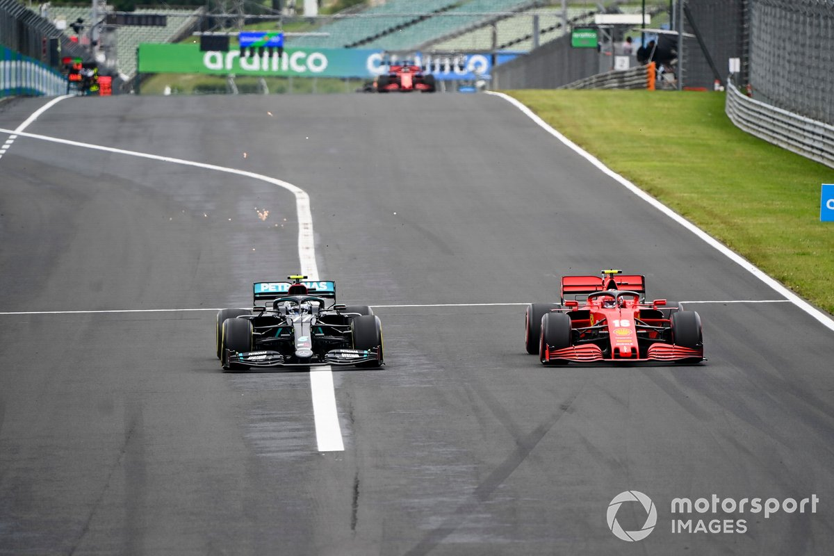 Valtteri Bottas, Mercedes F1 W11, lotta con Charles Leclerc, Ferrari SF1000