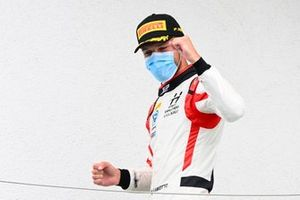 Race winner Luca Ghiotto, Hitech Grand Prix celebrates on the podium