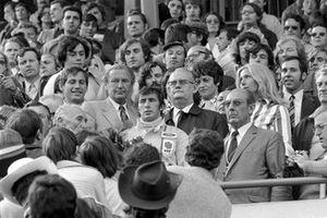Winner Jackie Stewart, Tyrrell on the podium