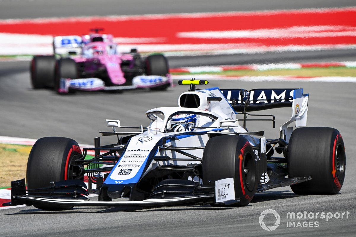 Nicholas Latifi, Williams FW43, leads Sergio Perez, Racing Point RP20