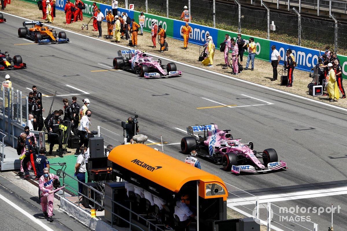 Sergio Pérez, Racing Point RP20, Lance Stroll, Racing Point RP20, Carlos Sainz Jr., McLaren MCL35, para la vuelta de formación