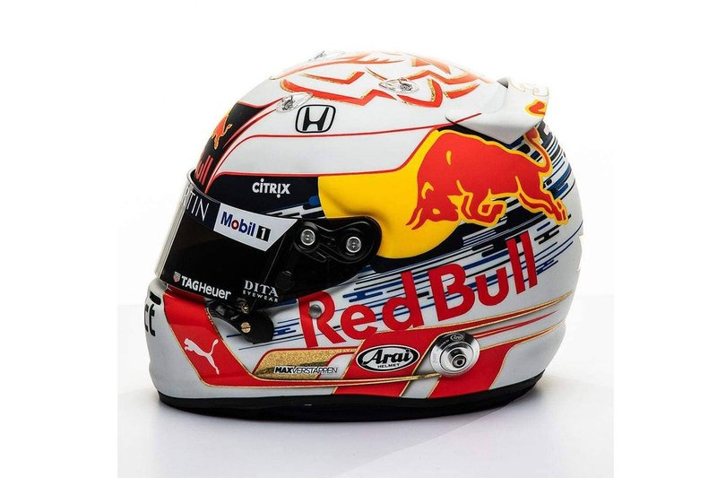 El casco de Max Verstappen, Red Bull Racing