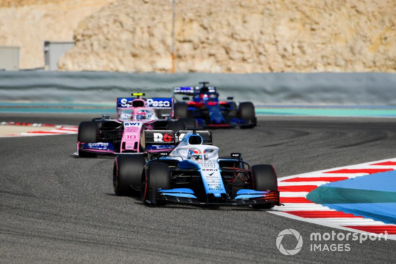 George Russell, Williams Racing FW42, Lance Stroll, Racing Point RP19, y Daniil Kvyat, Toro Rosso STR14