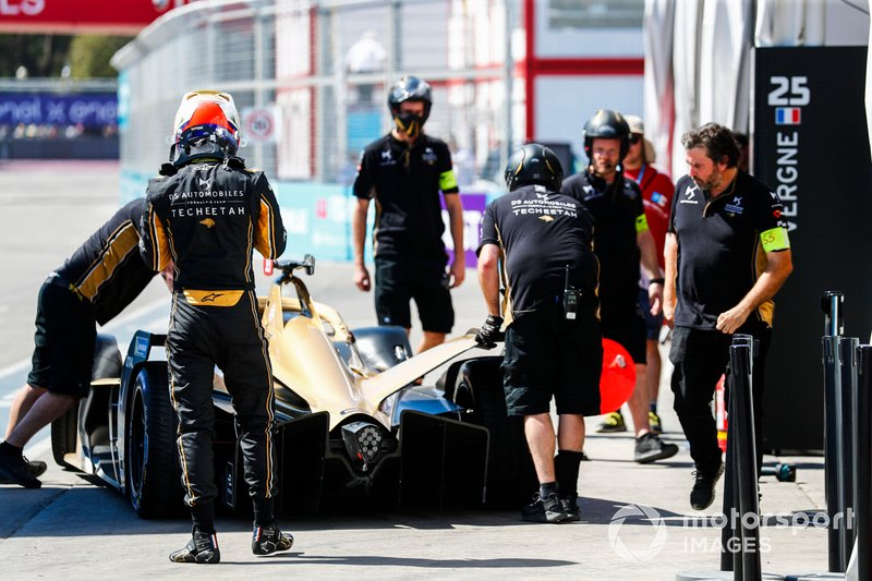 Jean-Eric Vergne, DS TECHEETAH, DS E-Tense FE19, returns to the garage