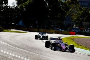 Sergio Perez, Racing Point RP19, leads Lewis Hamilton, Mercedes AMG F1 W10