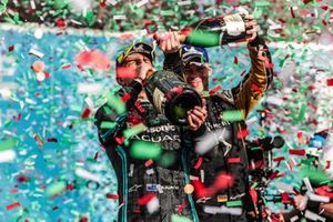 Mitch Evans, Panasonic Jaguar Racing, 1st position, drinks champagne on the podium as Andre Lotterer, DS TECHEETAH, 2nd position, pours champagne on him