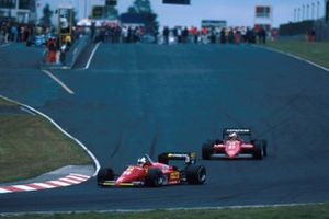 Stefan Johansson, Ferrari 156/85 leads team mate Michele Alboretto