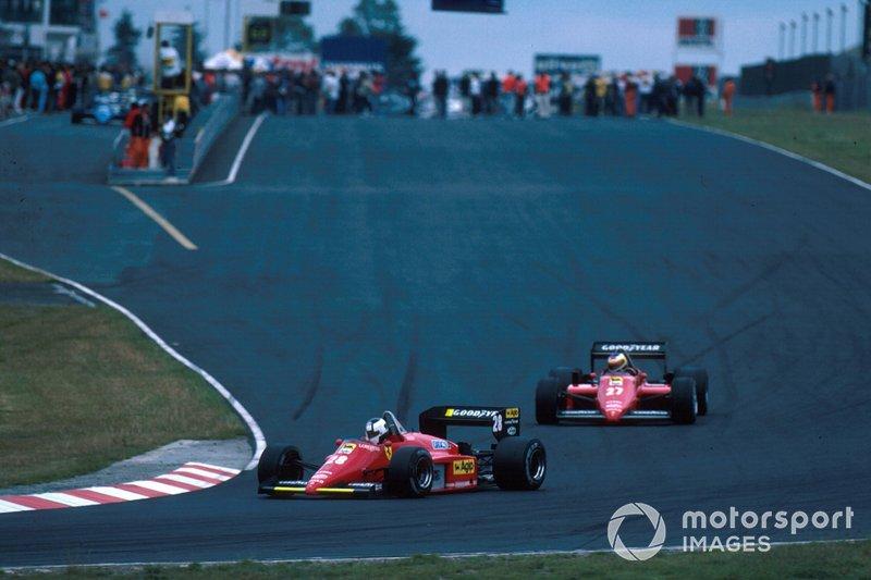 Stefan Johansson, Ferrari 156/85 leads team mate Michele Alboretto