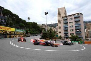 Valtteri Bottas, Mercedes AMG W10, leads Max Verstappen, Red Bull Racing RB15, and Sebastian Vettel, Ferrari SF90