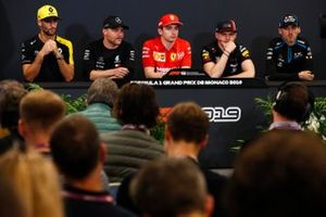 Daniel Ricciardo, Renault F1 Team, Valtteri Bottas, Mercedes AMG F1, Charles Leclerc, Ferrari, Max Verstappen, Red Bull Racing and Robert Kubica, Williams Racing oi Press Conference