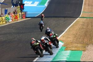 Jonathan Rea, Kawasaki Racing, Tom Sykes, BMW Motorrad WorldSBK Team, and Leon Haslam, Kawasaki Racing