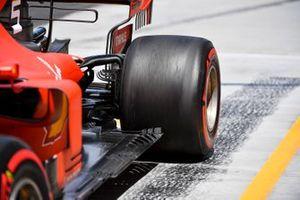 Sebastian Vettel, Ferrari SF90, spins in the pit lane